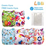 LBB Baby Cloth Diapers Reusable with Adjustable Snaps, 6 Covers + 6 Inserts, LBBZH603 (Color: Owl, Tamaño: 6 Pack)
