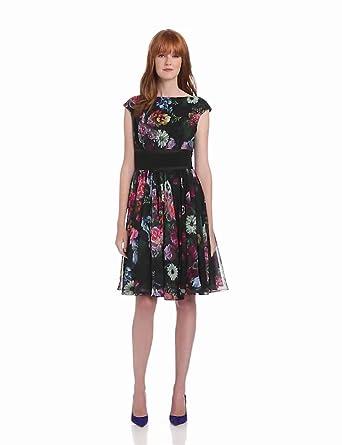 Ted Baker Women's Farilla Oil Paint Floral Print Dress, Black, 0