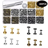 Ke senle 480 Sets 4 Colors 3 Sizes Leather Rivets Double Cap Rivet Tubular Metal Studs with 3 Pieces Setting Tool Kit for Leather Craft Repairs Decoration