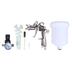 CARTMAN HVLP Gravity Feed Air Spray Gun 20.2 oz Capacity, 4.0-6.0 CFM (Cubic feet per Minute), Optimal Working Pressure 2bar/29psi, Nozzle Size:1.3mm with Air Regulator (Tamaño: 1.3mm S/Steel Acc. w Regu.)