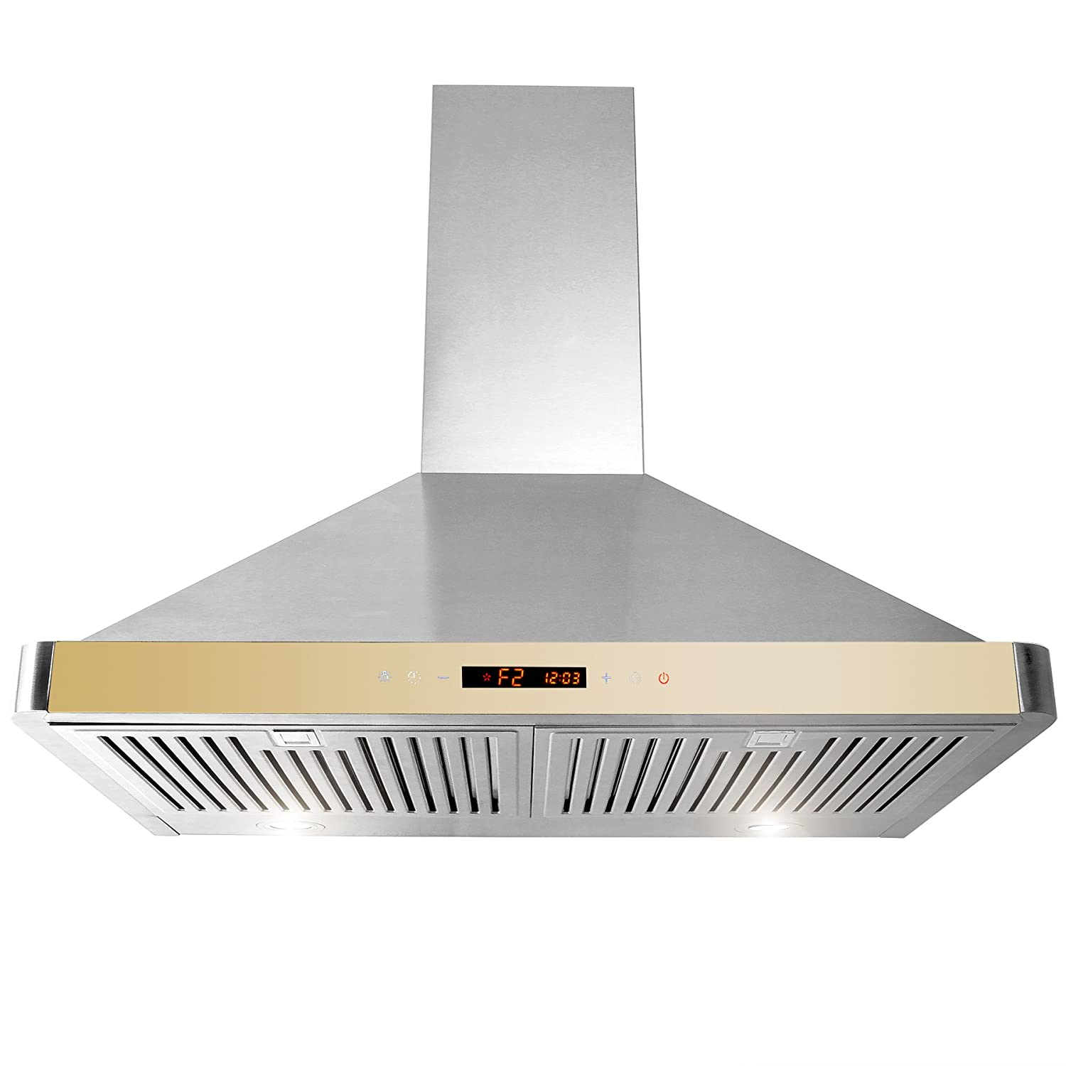 "Golden Vantage 30"" Wall Mount Range Hood GV-63175D-GLD Stainless Steel Golden Vent Hood W/ Touch Control Panel"