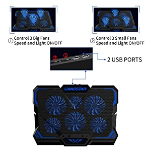 Laptop Cooling Pad, Laptop Cooler with 6 Quiet Led Fans for 15.6-17 Inch Laptop Cooling Fan Stand, Portable Ultra Slim USB Powered Gaming Laptop Cooling Pad, Switch Control Fan Speed Function (Color: Blue)