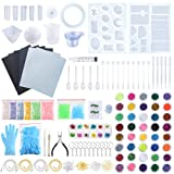 Sntieecr 223 Pieces Resin Silicone Casting Molds Full Kit with Resin Molds, Sandpaper, Fine Glitter, Glitters Sequins Powder, Dry Flower and Tools Set for Jewelry Making, Resin Epoxy, Earring Making