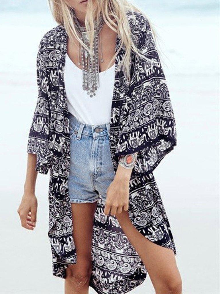 Persun Women Floral Chiffon Shawl Kimono Cover-up Jackets 2