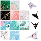 Paperkiddo 100 Sheets Origami Paper Craft Folding Paper 10 Different Marble Pattern Bronzing Curve Premium Quality for Arts and Crafts 6