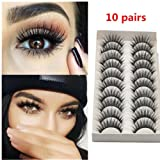 Lookatool 10 Pairs Thick Long Cross Party False Eyelashes Black Band Fake Eye Lashes (Color: Black)