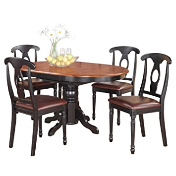 East West Furniture KENL5-BLK-LC 5-Piece Dining Table Set