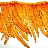 Natural Rooster Tail Feathers Fringe Trim (Orange) (Color: Orange)
