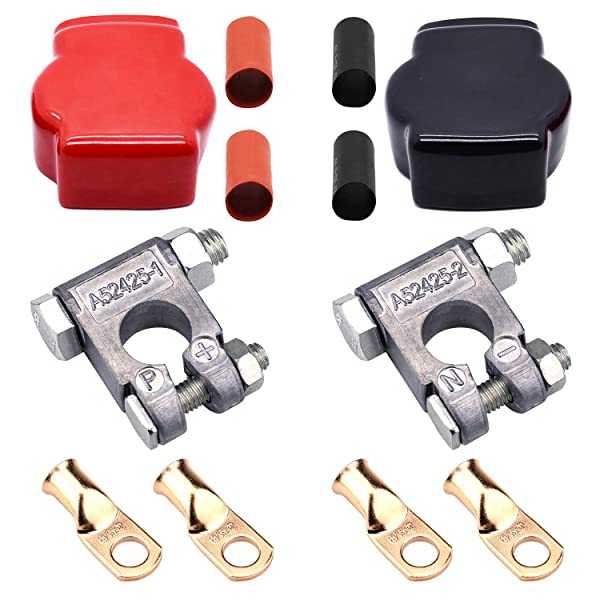 With Covers + and - Military Style Battery Terminal Top Post Kit