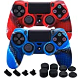 MXRC Silicone Rubber Cover Skin Case X 2 Anti-slip STUDDED Dots Customize for PS4/SLIM/PRO Controller x 1(Camouflage Red & Blue) + FPS PRO Stick Cover Thumb Grips x 8 + Dustproof Plug x 4 (Color: Camou Red & Blue, Tamaño: PS4 Dots pack)