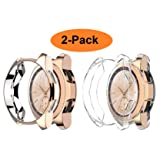Greaciary Compatible for Samsung Galaxy Watch 42mm Case,(2 Color Packs) Soft TPU Plated Scratch Shatter Resistant Shockproof Cover Shell Bumper Protector Compatible for Galaxy Smart Watch Clear+RG (Color: 2 Pack (Rose Gold+Clear), Tamaño: 42 mm)