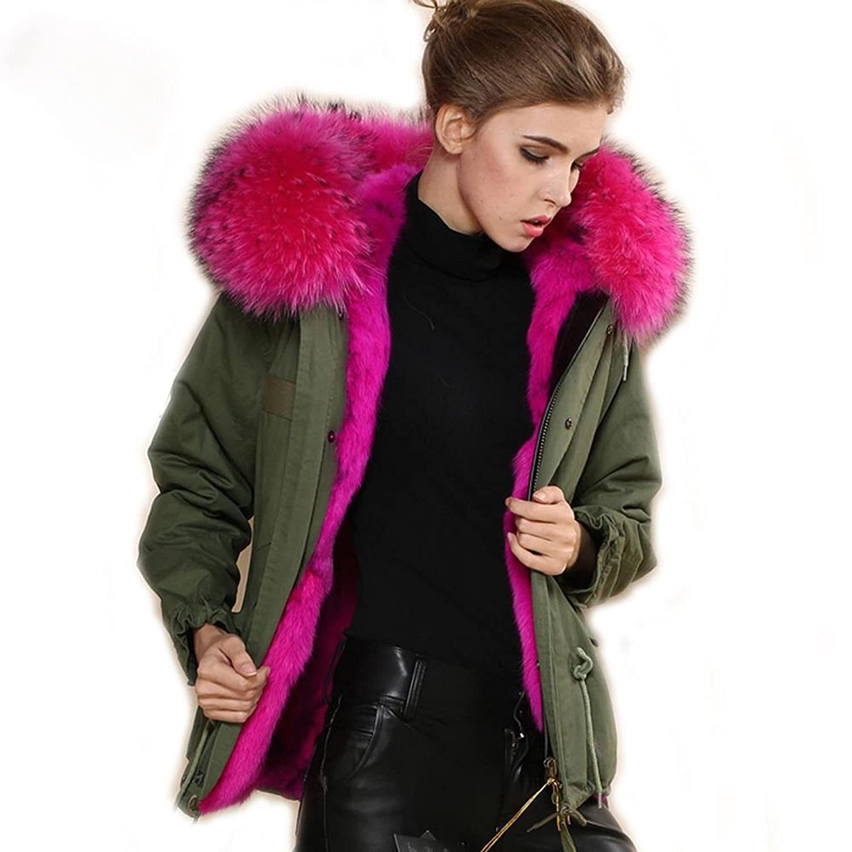 PARKA XXL Kragen aus 100% ECHTPELZ ECHTFELL Jacke Mantel Khaki Pink online kaufen