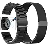 CAGOS Compatible Galaxy Watch (42mm)/Ticwatch E Bands Sets, 20mm 2 Pack Stainless Steel Band+Milanese Loop Mesh Bracelet Strap for Galaxy Watch 42mm/ Gear Sport/Ticwatch E Smartwatch-Small (Color: Black, Tamaño: Small)