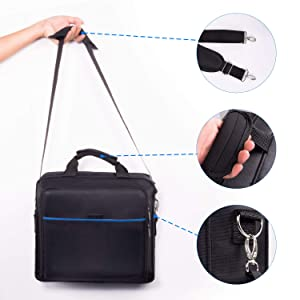 New Travel PS4 Case Multifunctional Waterproof PS4 Carrying Case Protective Shockproof PS4 Bag Handbag/Shoulder Bag for PS4 System and Accessories