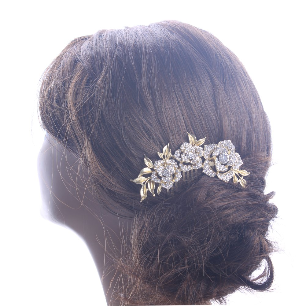 KimmyKu Bridal Hair Accessories Vintage Rose Gold Wedding Party Hair Comb Crystal Vine Bridal 1