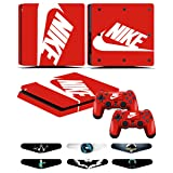 PS4 Slim Skins - Decals for PS4 Controller Playstation 4 Slim - Stickers Cover for PS4 Slim Controller Sony Playstation Four Slim Accessories with Dualshock 4 Two Controllers Skin - Nike Logo (Color: Nike Logo)