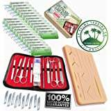 Complete Practice 45pcs Dissection & Suture Kit for Med Students: Includes Silicone Suture Pad with Base and Wounds, Stainless Steel Tools, Leather Carrying Case, 24X Nylon Suture Needle and Thread (Color: Black, Tamaño: small)