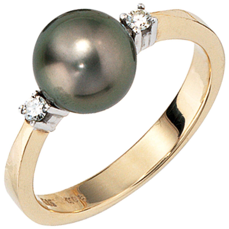 Damen-Ring 585 Gelbgold 2 Diamant-Brillanten, 1 Tahiti-Perle als Geschenk