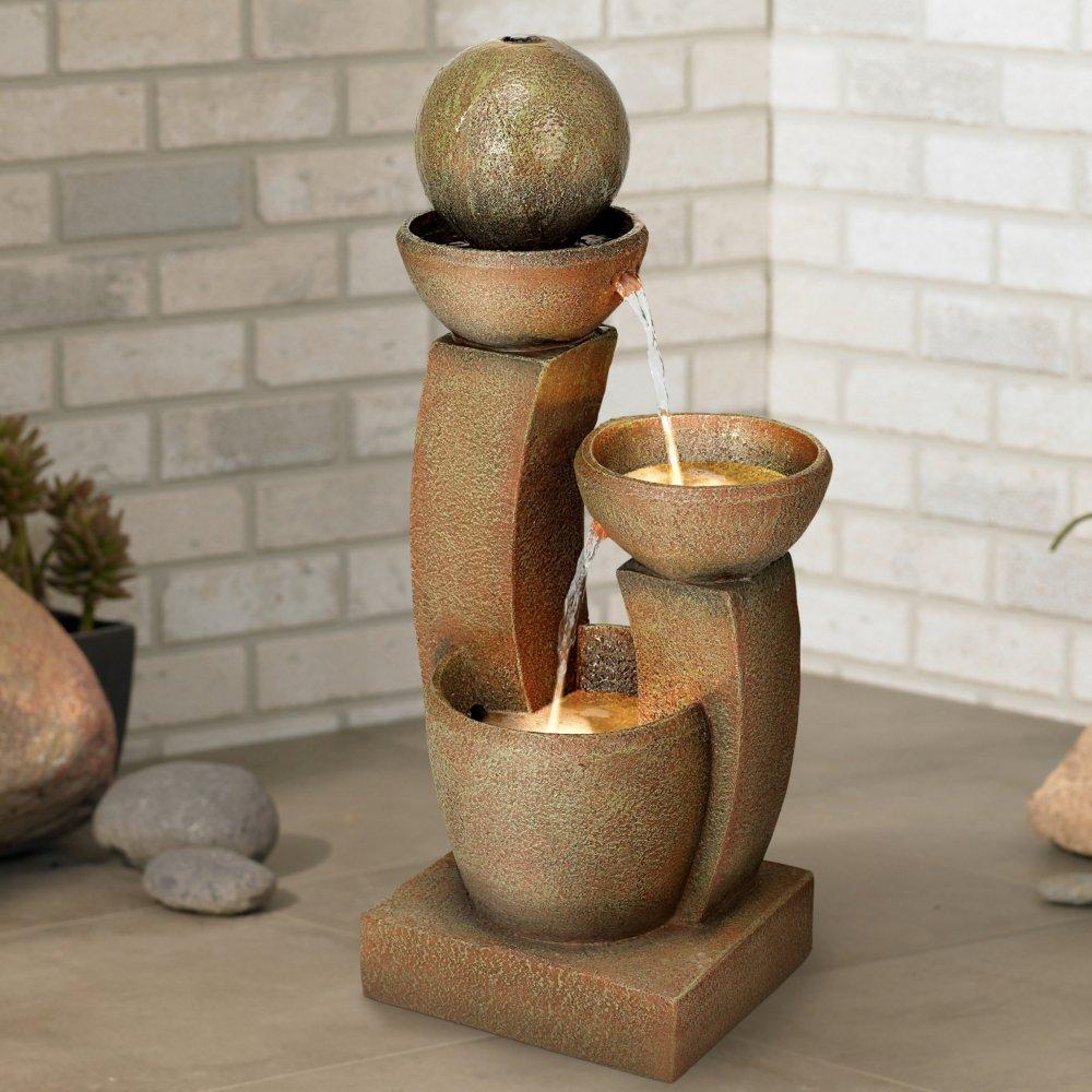 "Modern Curved Columns 31"" High LED Fountain"