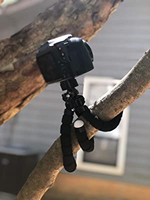 Tripod Camera Stand for iPhone by Belru - Compatible Selfie Stick for Gopro - Flexible and Durable - Adjustable Universal Phone Clamp - Portable for T