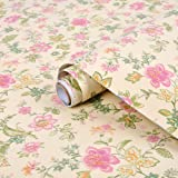yazi Self Adhesive Shelf Liner Moisture Proof Drawer Paper Shelf Liner,17x78 Inches,Flowers (Color: Flowers, Tamaño: 17x78 Inches)