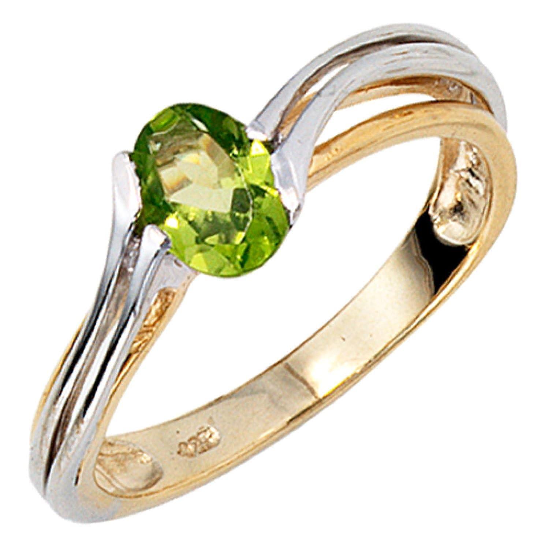 Damen-Ring 333 Bicolor Gold 1 Peridot schenken