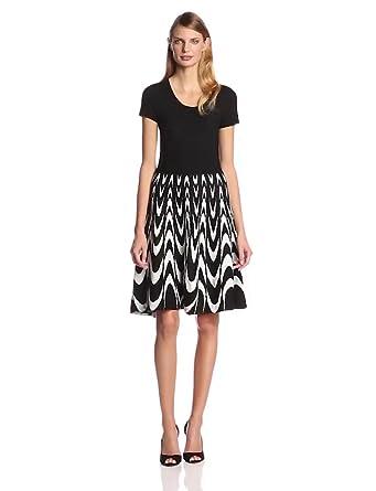 Sandra Darren Women's Cap-Sleeve Sweater Dress, Black/White, Small at
