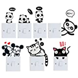 Efivs Arts 7 Pcs Cute Animals Removable Creative Light Switch Decals Bedroom Wall Laptop Stickers,Black (Color: Animal)