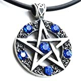 Blue Crystal Wiccan Pagan Wicca Magic Star Pentacle Pentagram Pewter Pendant