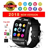 Bluetooth Smart Watch With Camera Waterproof Smartwatch Touch Screen Unlocked Cell Phone Watch Smart Wrist Watch Smart Watches For Android Phones Samsung IOS iPhone 6S 7 7S 8 X Plus (black) (Color: black)