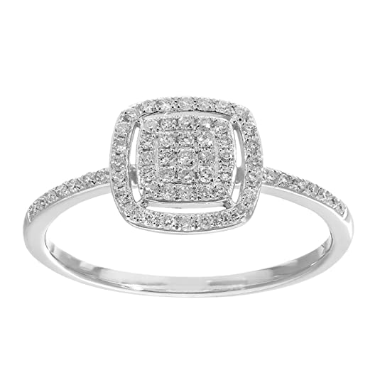 Naava 18 ct White Gold 0.25ct Pave Set Diamond Square Ring - Size O