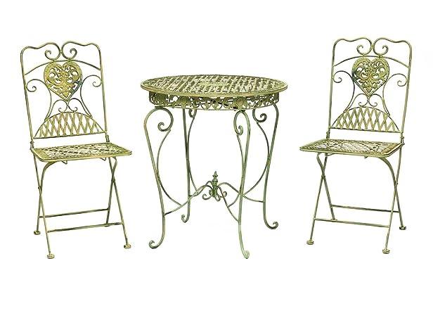 Tavolo da giardino guarnizione guarnizione e 2 sedie in stile antico del ferro