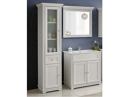 Set mobili da bagno PALACA bianco con lavandino - bianco, Waschtisch, Spiegel & Hochschrank 80 cm