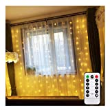 Battery Operated Curtain String Lights with Remote Timer Christmas Bedroom Fairy LED Waterfall Background Light for Outdoor, Indoor, Wedding, Party, Home (Warm White, 6.5 X 6.5ft, Waterproof, 8 Modes) (Color: Warm White, Tamaño: 2M X 2M (Battery Powered))