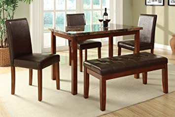 Modern Poundex F2509 Dark Marble Top Table & Brown Leatherette Chairs Dining Set