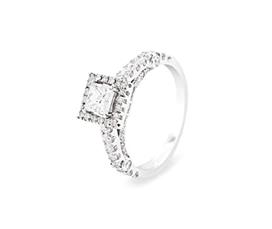 1.20 Princess Cut Solitaire & Round Brilliant Diamonds Engagement Ring in White Gold