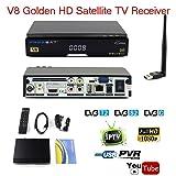 Freesat V8 Golden DVB-S2/T2/C HD 1080P FTA Satellite TV Receiver Decoder Full 1080P Digital Receptor Support Powervul IPTV Bisskey,Youtube,USB Wifi