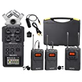 Zoom H6 Six-Track Portable Handy Recorder Bundle with Movo UHF Wireless Dual Lavalier Microphone System