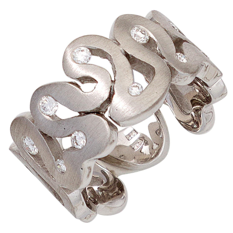 Damen Ring 585 Weißgold mattiert 10 Diamanten Brillanten günstig kaufen