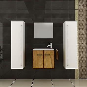 badm bel set waschtisch walnuss design waschbecken zwei hochschr nke weiss hochglanz g ste wc. Black Bedroom Furniture Sets. Home Design Ideas