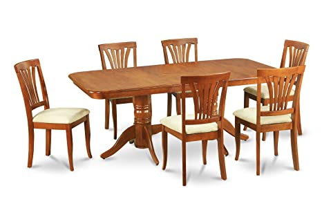 East West Furniture NAAV5-SBR-C 5-Piece Dining Table Set