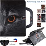 Galaxy Tab A 9.7 Case, Newshine Portable Type PU Leather Standing Cover Protective Folio Case with Card Slots for Samsung Galaxy Tab A 9.7 inch SM-T550 Tablet 2015 Release, Half-face Cat (Color: 1 Half-face Cat)