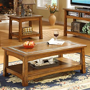 Craftsman Home Rectangle Coffee Table in Americana Oak Finish
