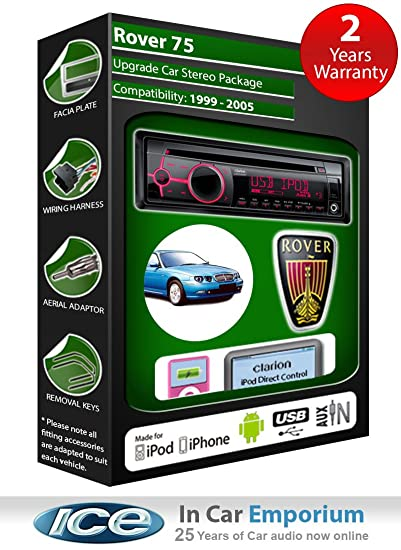 Rover 75 Autoradio CD MP3 radio play Clarion, iPod, iPhone, Android