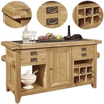 Panama Solid Rustic Oak Furniture Large Kitchen Island Unit