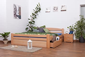 """Massivholzbett / Funktionsbett """"Easy Möbel"""" K4 inkl. 2 Schubladen und 1 Abdeckblende, 180 x 200 cm Buche Vollholz massiv Natur"""