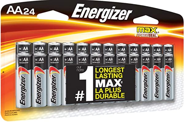 Energizer AA Batteries, Double A Battery Max Alkaline (24 Count) E91BP-24 (Tamaño: AA)