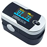 Santamedical Generation 2 Fingertip Pulse Oximeter Oximetry Blood Oxygen Saturation Monitor with batteries and lanyard (Bright Silver) (Color: Bright Silver)