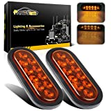 Partsam 2x 6 inch Oval Turn Signal/10 LED Amber Cover/Amber Light Stop Turn Tail Light