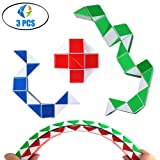 Speed Cube Snake Ruler Twisty Fidget Cube Puzzle Pack Stickerless Magic Snake Game Toys Collection Brain Teaser Christmas Gift for Kids (24 parts white) (Color: 24 parts white)